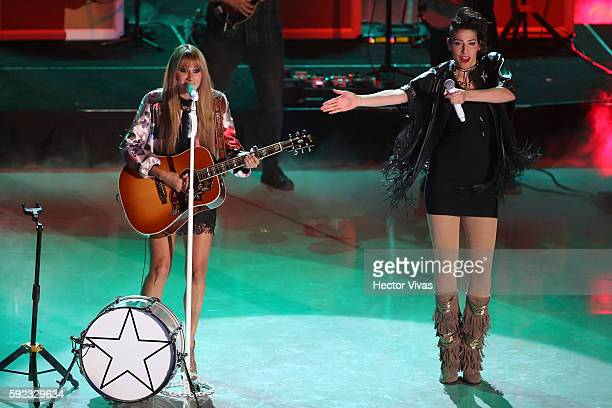 Mexican duet HaAsh perform during the Kids Choice Awards 2016 at Auditorio Nacional on August 20 2016 in Mexico City Mexico