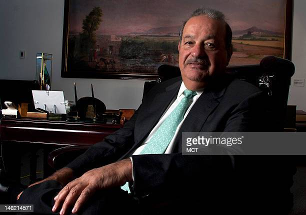 Mexican entrepreneur Carlos Slim is seen at his office in Mexcio City July 25 2007 State and private monopolies stifle competition in Mexico and hold...