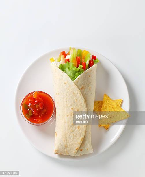 mexican fajitas (tortilla wrap) on a white plate