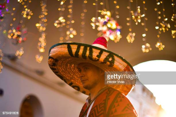 Mexican fan looks on at Moscow downtown on June 15 2018 in Moscow Russia