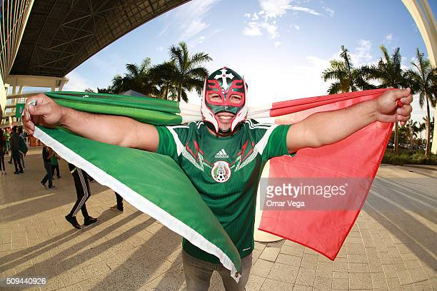 Mexican fan poses for a photo prior the international friendly match between Mexico and Senegal at Marlins Park on February 10 2016 in Miami United...