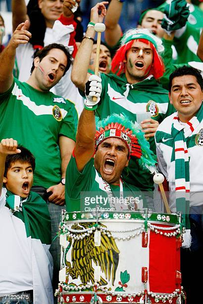 Mexican fans build up the noise level prior to the FIFA World Cup Germany 2006 Group D match between Mexico and Angola played at the Stadium Hanover...