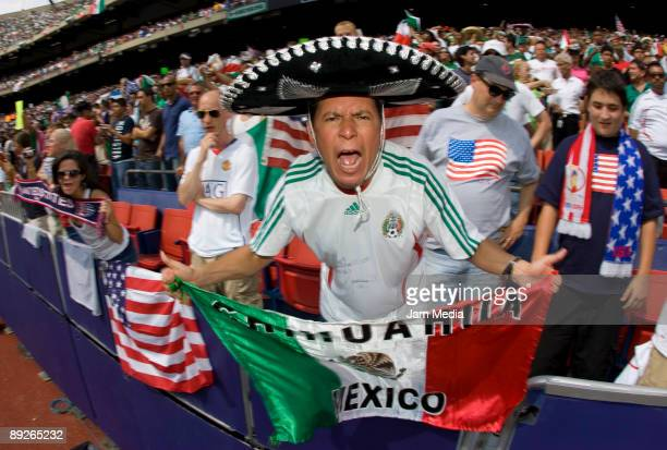 Mexican fans celebrates the scored goal against USA during the CONCACAF Gold Cup 2009 final match at The Giant Stadium on July 26 2009 in East...