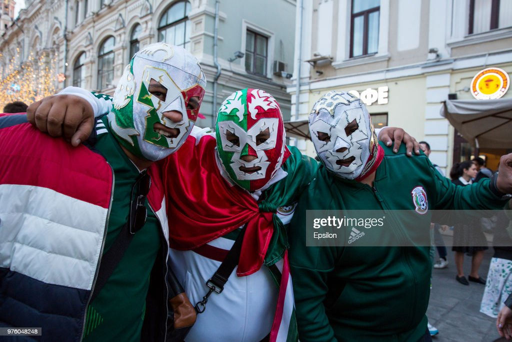 Mexican fans cheer at Moscow downtown on June 14, 2018 in Moscow, Russia.