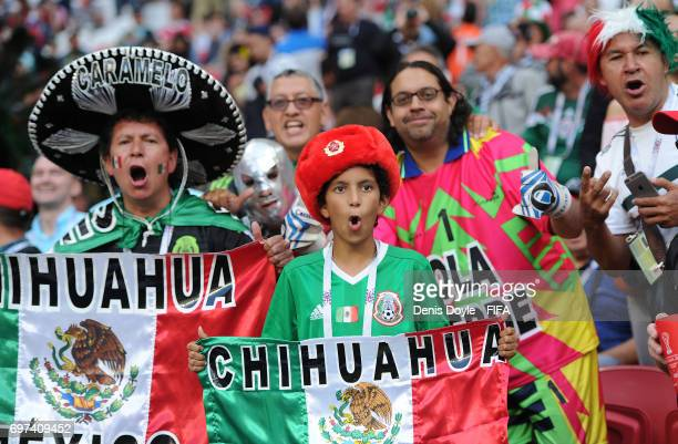 Mexican fans cheer on their team during the FIFA Confederations Cup Russia 2017 Group A match between Portugal and Mexico at Kazan Arena on June 18...