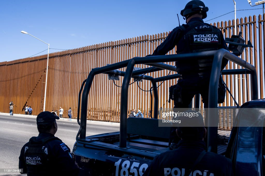 Views Of A Mexico Border Town As President Trump Holds Press Tour Of New Wall : News Photo