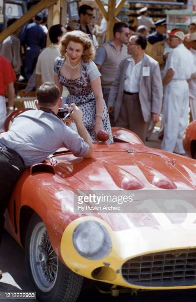 Mexican film actress Linda Christian poses for a portrait in Alfonso Marquis de Portago's Ferrari 860S Monza before the Grand Prix of Cuba race on...