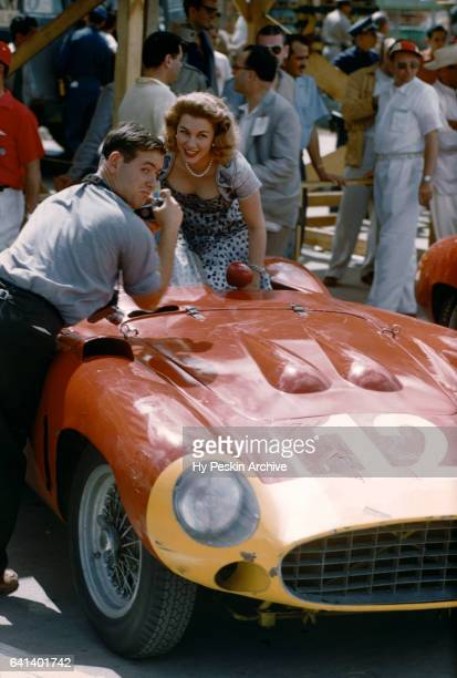 Mexican film actress Linda Christian poses for a portrait in Alfonso 'Marquis' de Portago's Ferrari 860S Monza before the Grand Prix of Cuba race on...