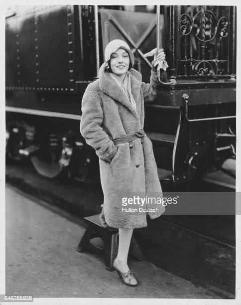 Mexican film actress Lupe Velez leaving Sante Fe Station for a trip to New York ca 1929