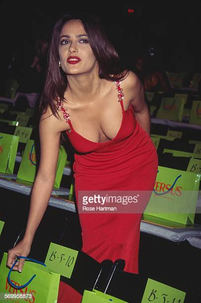 Mexican film actress Salma Hayek at the Versus Spring/Summer 1997 fashion show USA 1996