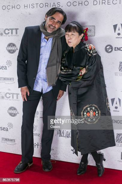 Mexican filmmaker Carlos Bolado poses with Japanese actress Kaori Momoi during the premiere of the Mexican film 'La Habitación' at Cinepolis Patio...