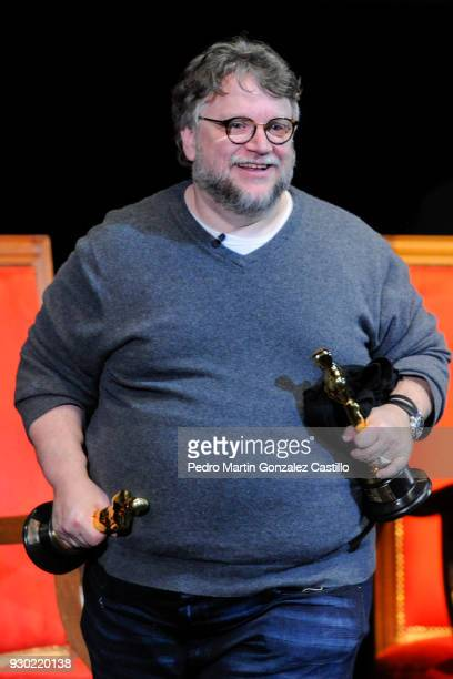 Mexican Filmmaker Guillermo del Toro smiles holding his Oscars during a Master Class as part of Guadalajara International Film Festival on March 10...