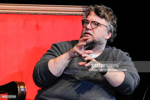 Mexican Filmmaker Guillermo del Toro speaks during a Master Class as part of Guadalajara International Film Festival on March 10 2018 in Guadalajara...
