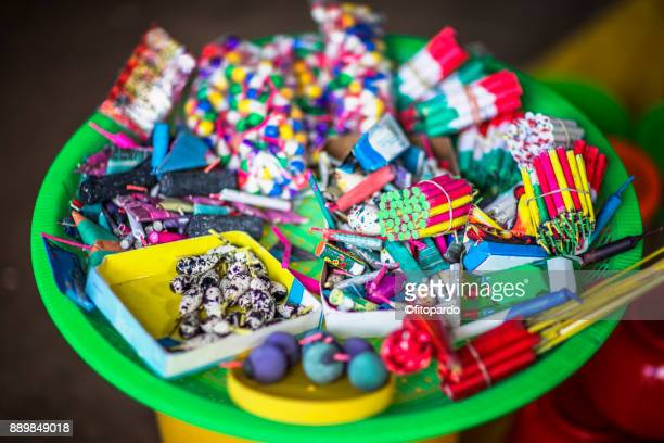 mexican fireworks in a bucket - explosive material stock photos and pictures