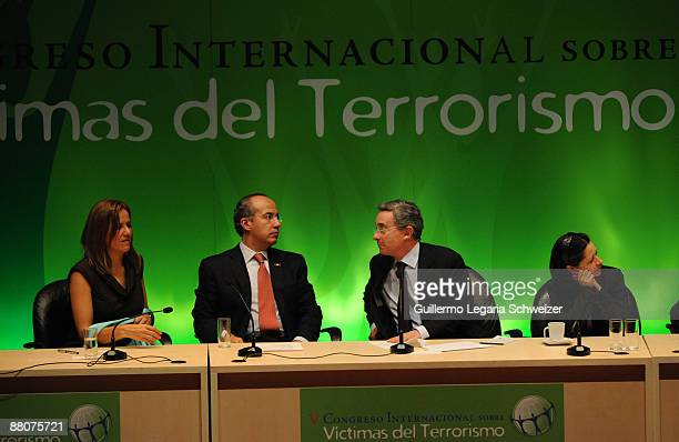 Mexican first lady Margarita Zavala Mexican President Felipe Calderon Colombian President Alvaro Uribe and Colombian First Lady Lina Moreno during...