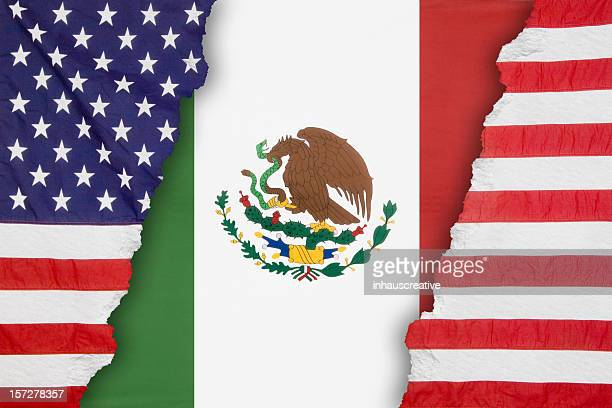 Mexican flag dividing an American One