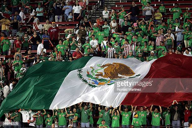 Mexican flag is raised during play between Ghana and Mexico on March 1, 2006 at Pizza Hut Park in Frisco, Texas. Mexico defeated Ghana 1-0.