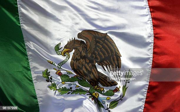 Mexican flag is unfurled by a supporter prior to the International Friendly match between New Zealand and Mexico at the Rose Bowl on March 3 2010 in...