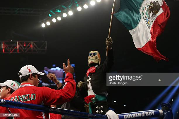 Mexican flag is waved in the corner of Canelo Alvarez before his WBC super welterweight title defense against Josesito Lopez at MGM Grand Garden...
