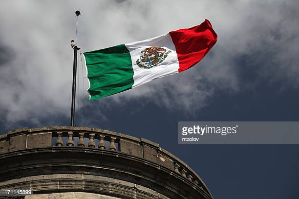 mexican flag on a castle - chapultepec park stock photos and pictures
