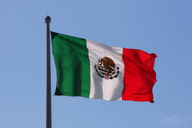Mexican Flag Over Blue Sky In Playa Del Carmen, Mexico