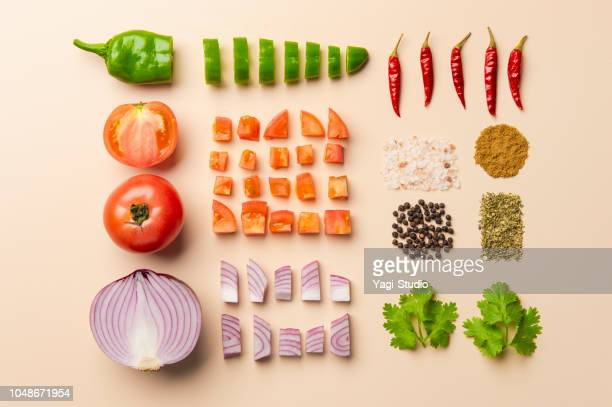 mexican food -knolling- - ingredient stock pictures, royalty-free photos & images