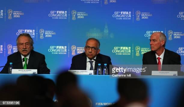 Mexican Football Federation President Decio de Maria USA Soccer Federation President Carlos Cordeiro and Canadian Soccer Federation President Steven...