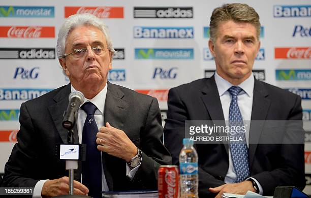 Mexican Football Federation president Justino Compean accompanied by the director of the country's national teams Hector Gonzalez Inarritu announces...