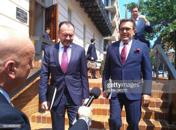Mexican Foreign Minister Luis Videgaray and Mexican Economy Minister Idelfonso Guajardo leave the United States Trade Representative Office building...