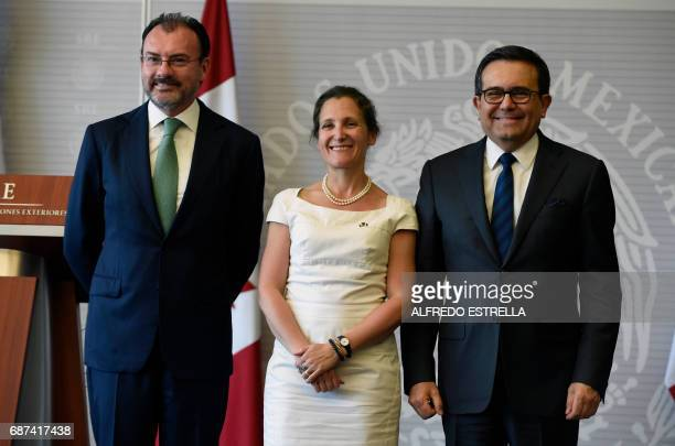 Mexican Foreign Minister Luis Videgaray his Canadian counterpart Chrystia Freeland and Mexican Economy Minister Ildefonso Guajardo pose for a photo...