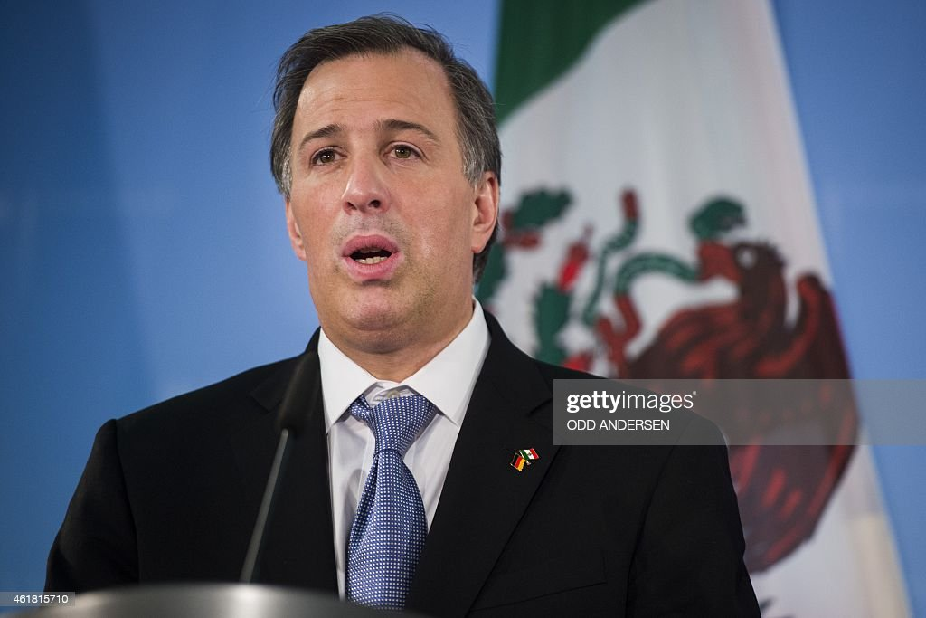 Mexican Foreign Secretary Jose Antonio Meade Kuribrena Speaks During A Joint Press Conference With The German