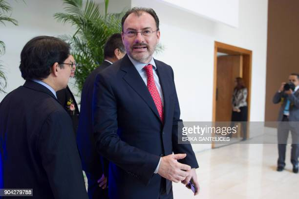 Mexican Foreign Secretary Luis Videgaray arrives at the Dominican Republic's Foreign Relations Ministry in Santo Domingo to attend a meeting between...