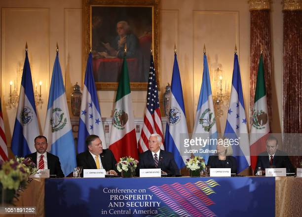 Mexican Foreign Secretary Luis Videgaray US Secretary of State Mike Pompeo Homeland Security Secretary Kirstjen Nielsen and Mexico Secretary of...
