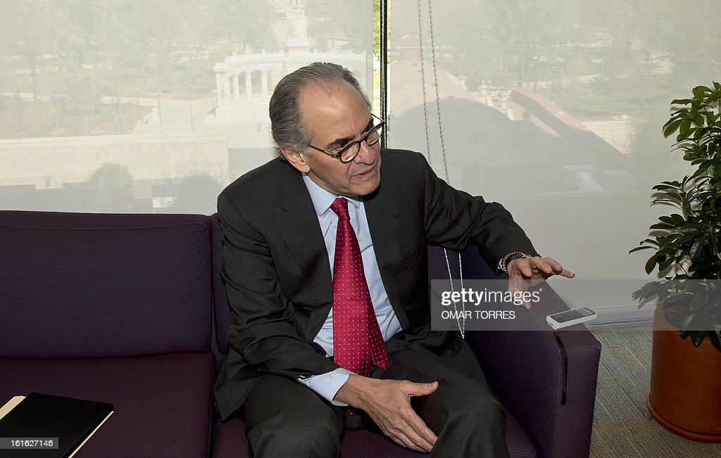 Mexican former Secretary of Commerce Herminio Blanco, one of the candidates for the position of the World Trade Organization (WTO) Director General, speaks during an interview with AFP, on February 13, 2013 in Mexico City.