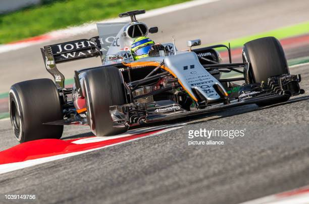 Mexican Formula One pilot Sergio Perez of Force India in action during the testing before the new season of the Formula One at the Circuit de...