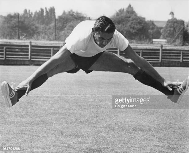 Mexican goalkeeper Antonio Carbajal training for the World Cup at the Finchley Football Club in London 4th July 1966