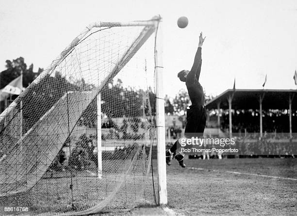 Mexican goalkeeper Isidoro Sota at full stretch during their FIFA World Cup match against Chile at the Parque Central in Montevideo 16th July 1930...