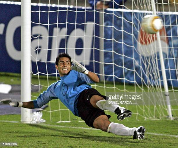 Mexican goalkeeper Oswaldo Sanchez fails to stop Brazilian Alex's shot which scored the first goal 18 July 2004 during their Copa America...