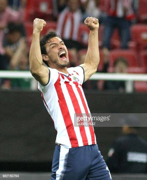 Mexican Guadalajara's defender Osvaldo Alanis celebrates after scoring a goal against US Seattle Sounders during their second leg match of the...