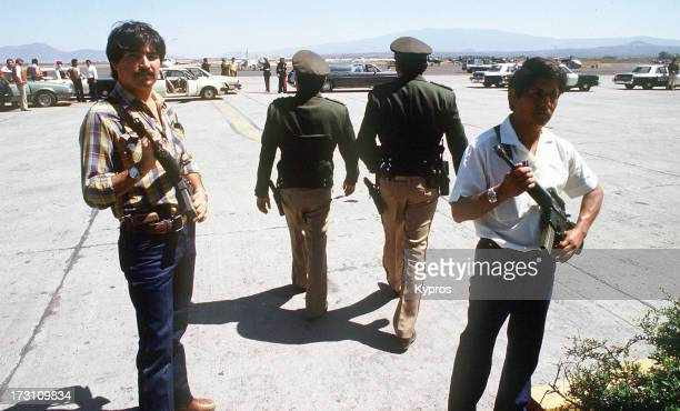 Mexican guards at an airport following the murder of Mexican undercover DEA agent Enrique Camarena Mexico 1985