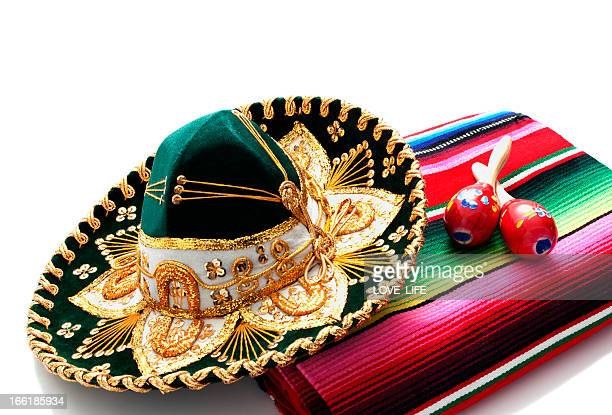 mexican hat and blanket - maraca stock photos and pictures