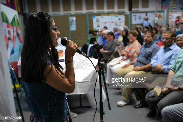 Mexican immigrant Karen Cortes speaks at town hallstyle event held to reassure the nervous local immigrant community on August 12 2019 in Stamford...