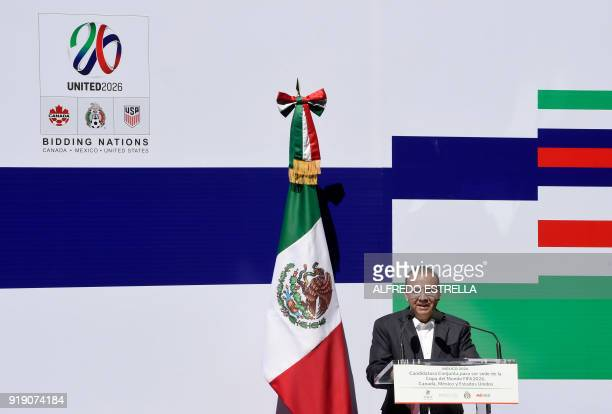 Mexican Interior minister Alfonso Navarrete Prida speaks during the ceremony in which the Federal Government granted guarantees to support Mexico's...