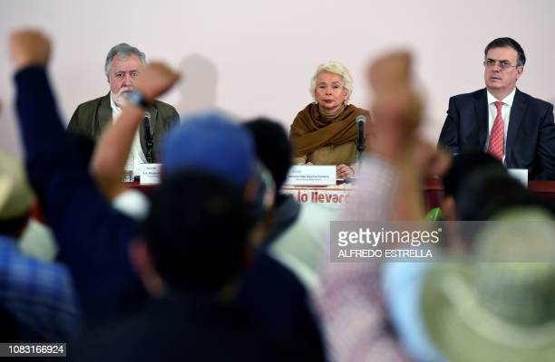 Mexican Interior Minister Olga Sanchez Cordero , Interior deputy Minister Alejandro Encinas and Mexico's Foreing Minister Marcelo Ebrard, attend a...