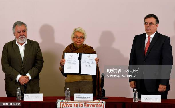 Mexican Interior Minister Olga Sanchez Cordero , shows next to Interior deputy Minister Alejandro Encinas and Mexico's Foreing Minister Marcelo...