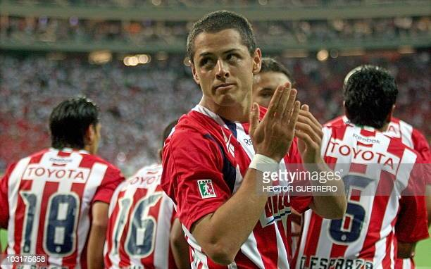 Mexican Javier Hernandez currently of Manchester United dressed with the Chivas of Guadalajara jersey celebrates a goal during the friendly footbal...