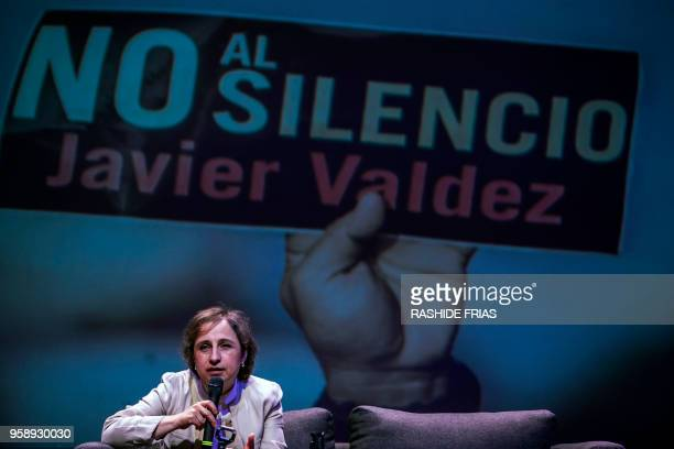 Mexican journalist Carmen Aristegui delivers a speech at the University de Occidente during the commemoration of the murder of journalist Javier...