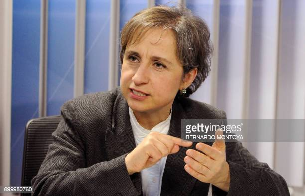 Mexican journalist Carmen Aristegui speaks during an interview with AFP about the New York Times article 'Using Texts as Lures Government Spyware...