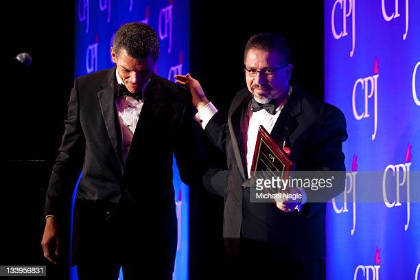 Mexican journalist Javier Valdez Cardenas walks off stage after accepting the 2011 International Press Freedom award from Mark Whitaker CNN Worldwide...