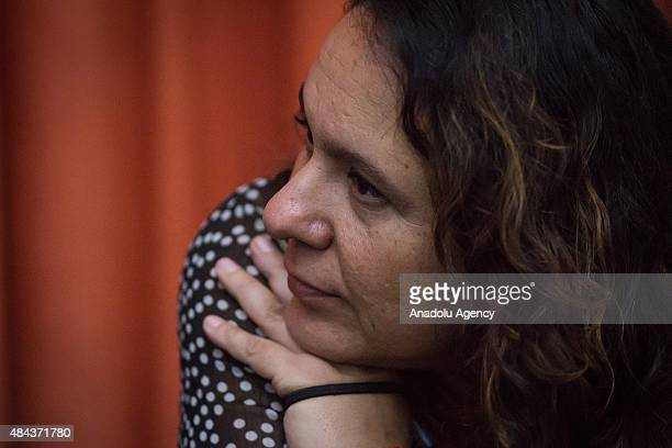 Mexican journalist Marcela Turati seen during a press conference held by journalists with the support of PEN International and the Commitee to...
